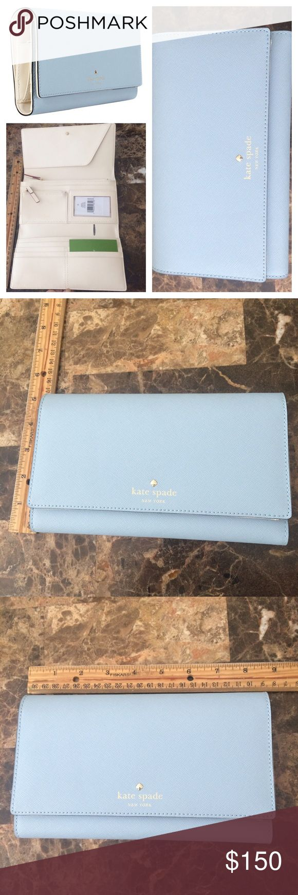 Kate Spade Mikas Pond Wallet - Arctic Blue This is a large wallet - similar to a clutch size. New that tags. 100% Leather Kate Spade New York Mikas Pond Phoenix Tri-fold wallet -8 credit card slots, one billfold, interior slide pocket, interior zipper pocket, zipper change compartment and an id window. Crosshatched leather with smooth leather trim, and gold foil embossed Kate Spade New York signature with spade stud kate spade Bags Wallets