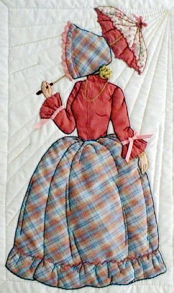 """#6 """"New Bonnet Girl Cousins"""" Jessica $6.50.  Jessica has an embroidery floss hair and bun. She stays out of the sun with her red umbrella."""