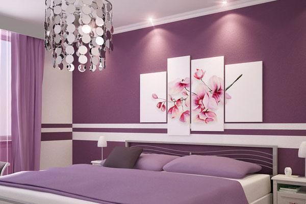 Love the Flower Picture and the Dark Purple + White Walls