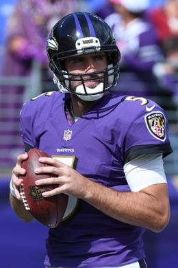 Redskins vs. Reavens  -  Oct 9, 2016:   16-10, Redskins  -     Baltimore Ravens quarterback Joe Flacco (5) warms up prior to the game against the Washington Redskins at M&T Bank Stadium. Mandatory Credit: Mitch Stringer-USA TODAY Sports