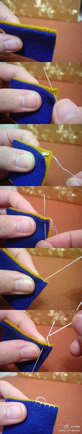 毛边缝是不织布作品最常用针法: 第一针时候,先从下面穿过两块布,第二针从下面穿出来,你刚刚穿过点旁边,这时针先不要拉出来,把线绕过针头後再把针拉出来,点与点距离大概2mm为最佳!