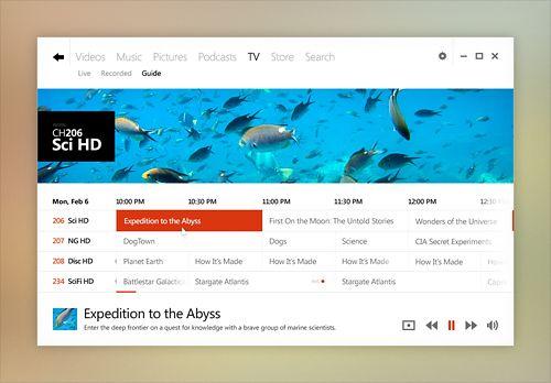 Windows Desktop UI Concept - Media Center - Window Mode