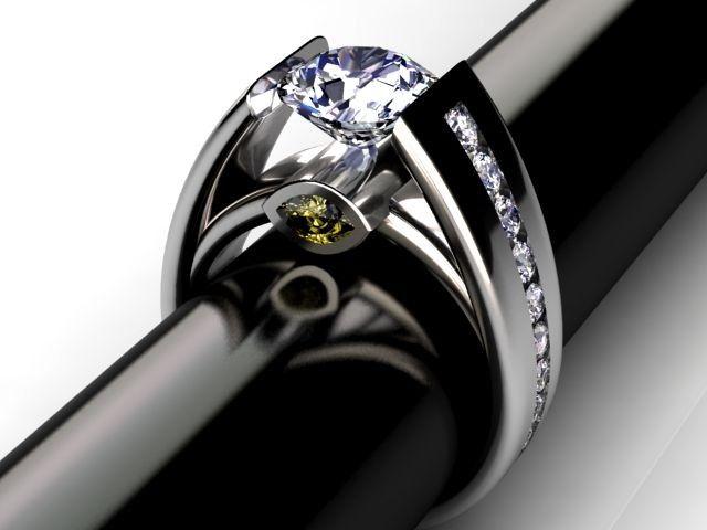 Heart Sapphire Tension Set Titanium Engagement Ring