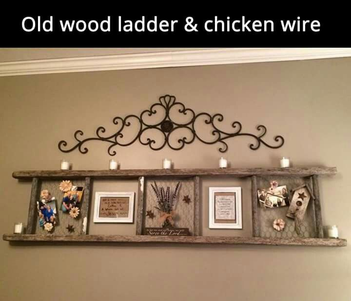 Old wood ladder and chicken wire made into a shelf. Clever!