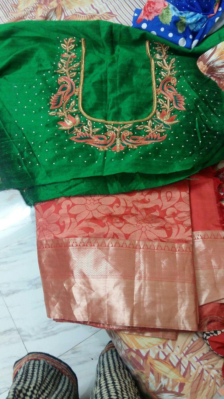 kanchi pattu saree with contrast thread work blouse