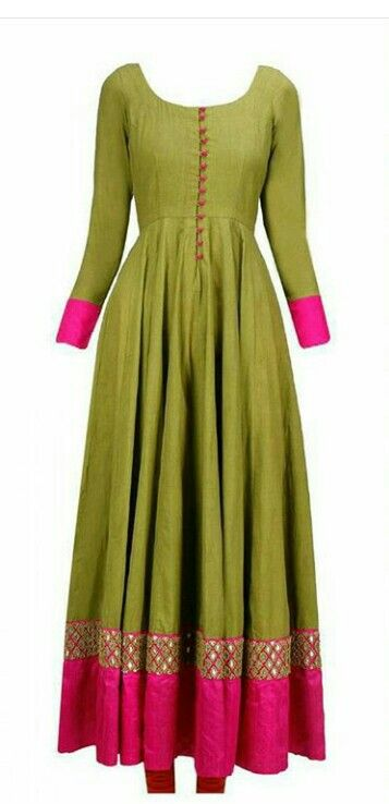 Love the color combination of the floor length anarkali. Raw silk,  Pink and green