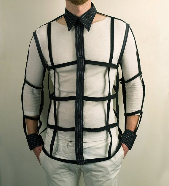Mens Button Down Cage Shirt in Black  Urban Cyber by PopLoveHis #men #Etsy #EtsyMen