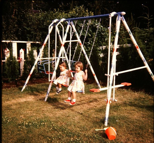 Our swingset was super nice b/c it had a  .... slide. A straight one, not the wavy ones like today.
