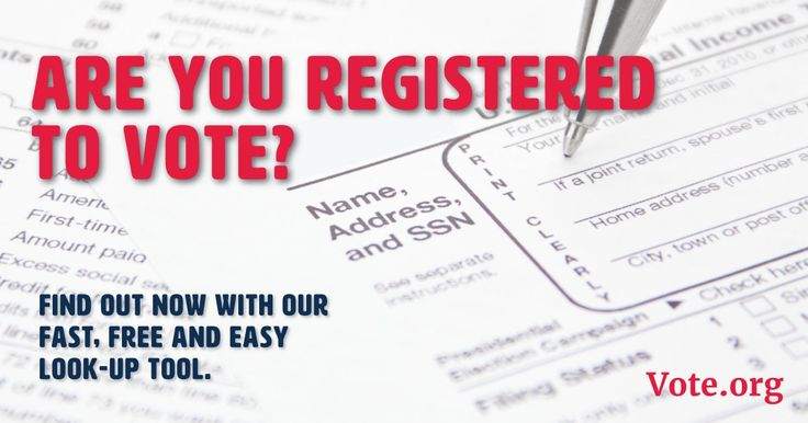 Find out if you're registered to vote with our 50-state voter lookup tool.  This takes less than 30 seconds.