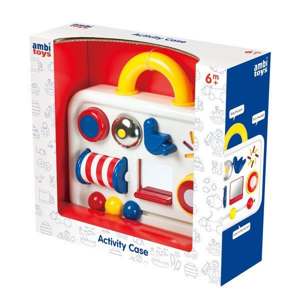 Ambi Toys Activity Case is a colourful activity centre with 6 activities for little hands to explore. Press the button and it squeaks, pull back the blue bird to chime the bell, slide the mirror to see who's hiding underneath. Encourages manual dexterity and the learning of cause and effect. 6 months + http://buff.ly/2tgm2Cy?utm_content=bufferdf485&utm_medium=social&utm_source=pinterest.com&utm_campaign=buffer
