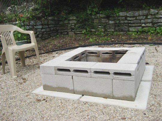 includes a fire pit for cheap! Budget Backyard: 10 Ways to Use Cheap Concrete Cinder Blocks Outdoors