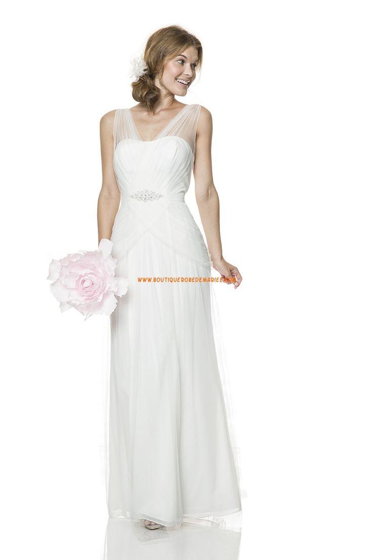 Robe de mariée Empire Tulle Evasee Longueur Ras Du Sol Luxueux Col En V