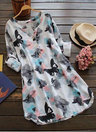 Vestidos Algodón Floral Hasta las rodillas Media manga (1030553) @ floryday.com