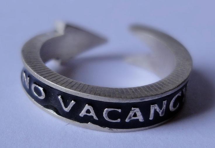 Mans NO VACANCY Motel Arrow Sign Ring: Motel Arrow, Sign Ring, Man, Arrow Signs