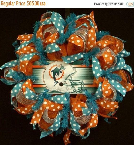 ON SALE NFL Wreaths Miami Dolphins Wreaths Miami by wreathsbyrobin