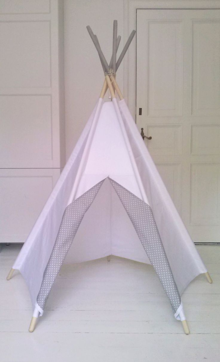 LittleNOMAD's pure white+grey dots teepee available here: littlenomad.pakamera.pl, direct order: hellolittlenomad@gmail.com #handmade #design #kidsroom #playtent #tipi #teepee #wigwam