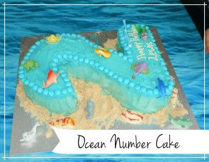 Ocean Number Cake for sea themed party