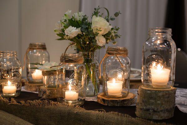 Fall Barn Wedding | Rustic Wedding Ideas | Real Wood Wedding Details | Mason Jar Candle Holders | Burlap and Lace Runners | Kate Aspen | Melanie Bennett Photography