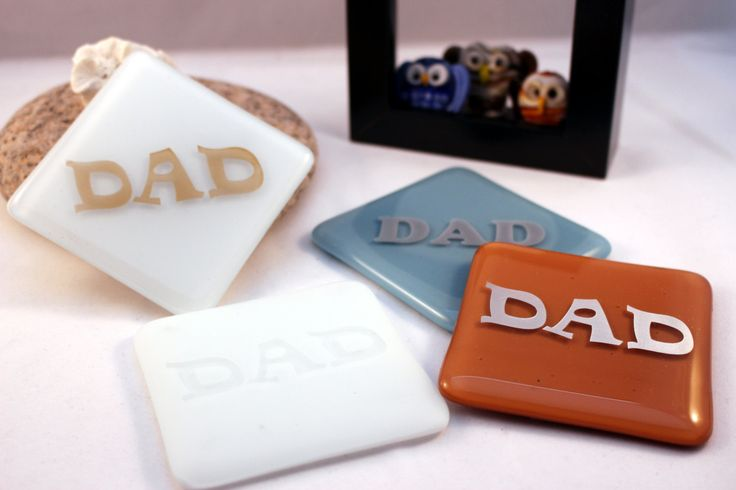 Dad personalised fused glass drinks/glass/mug coaster Fathers Day Gift - UK maker - CaVEtsy by DragonArtGlass on Etsy