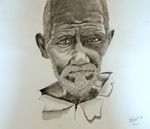 Portrait, painting by Surajit Chatterjee, Pencil on paper, 14 X 16 inches
