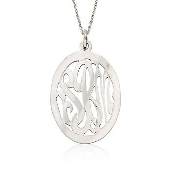 """Sterling Silver Monogram Open Oval Pendant Necklace. 24"""""""