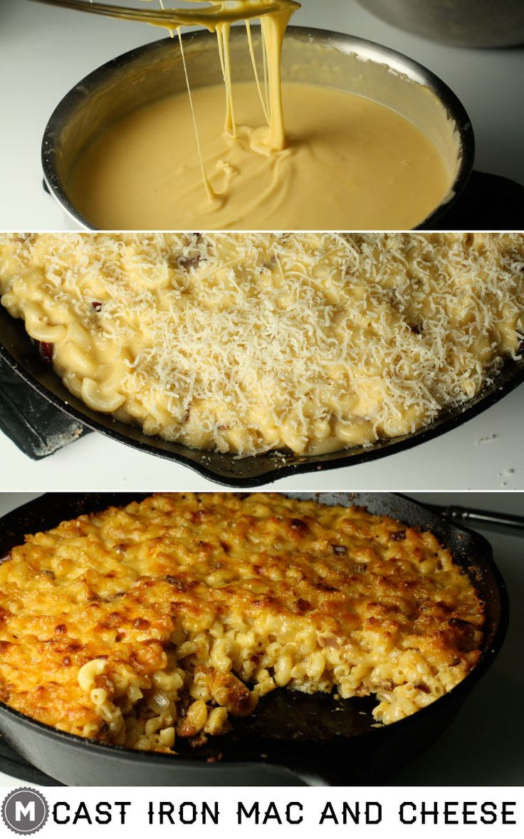 Creamy macaroni and cheese baked with bacon and arbol peppers in a cast iron skillet. A little spicy and very cheesy!