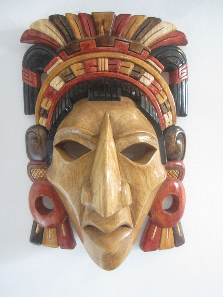 Classic Warrior Handsculpted In Cedar MAYAN AZTEC MASK. $149.00, via Etsy.