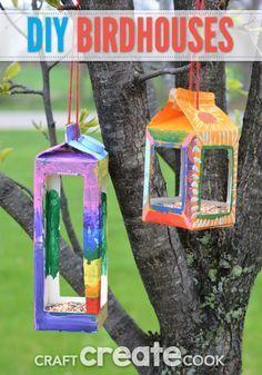 milk carton birdhouse craft for kids
