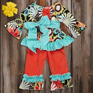 Aqua Floral Orange Corduroy Ruffle Pant Set