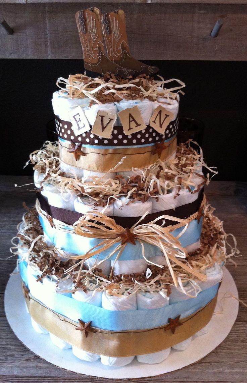 Little Cowboy Diaper Cake. $135.00, via Etsy.
