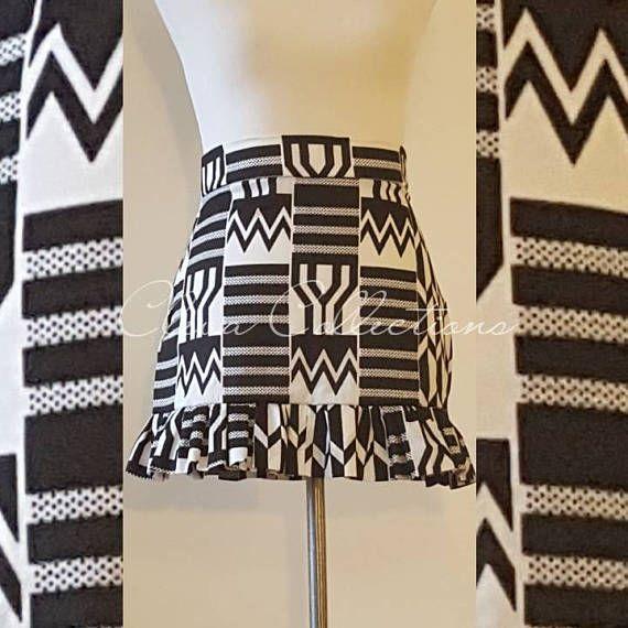 Imprime De Kente Africain Print Skirt Jupe Jupe Courte Noir Jupe Imprimee Mode Africaine Jupe Noire Courte