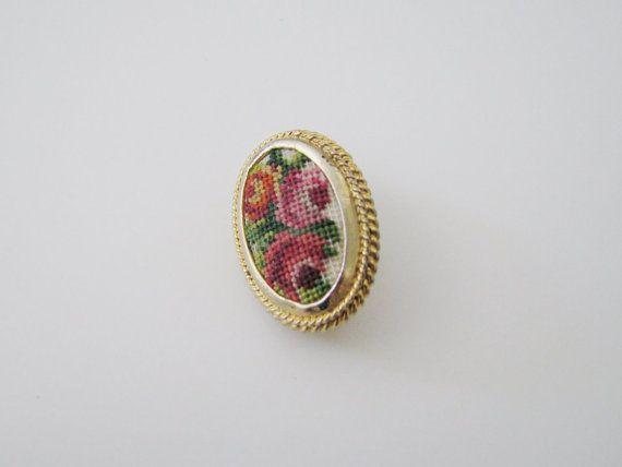 Vintage Gold Framed Floral Cross Stitch Brooch // Mid-Century Brooch
