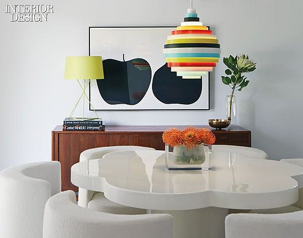 Ranch Dressing: Post-and-Beam House Gets Brighter by Alison Damonte Design & YamaMar Design | In the dining area, Fredrik Mattson Verkstad's pendant fixture hangs over Giusseppi Raimondi's table and chairs near an Enzo Mari silk screen. Photography by Bruce Damonte.