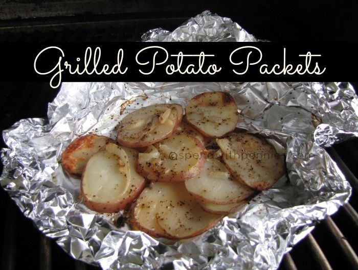 Grilled Potato Packets- I use red potatoes, sea salt, fresh grated pepper, thinly sliced sweet onion, and  a bit of garlic powder. Delish!