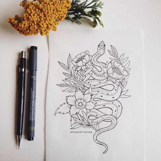 So in love with this William Morris inspired garter snake tattoo design I just finished for a client!   Can't wait to see this one on skin. Note: Please respect my art & my clients by not stealing any of my designs for your own use.