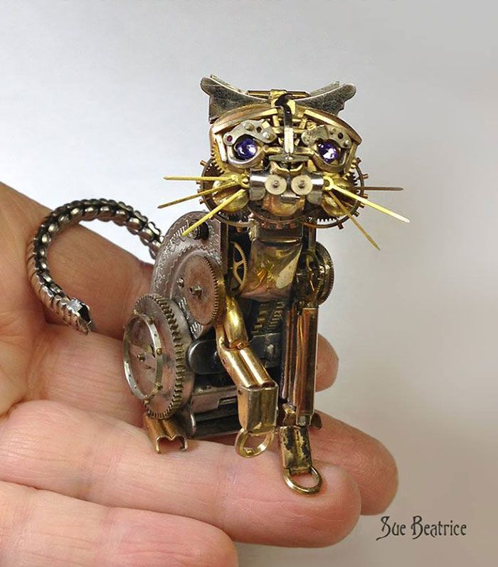 This Artist Recycles Old Watch Parts Into Incredible Steampunk Sculptures.