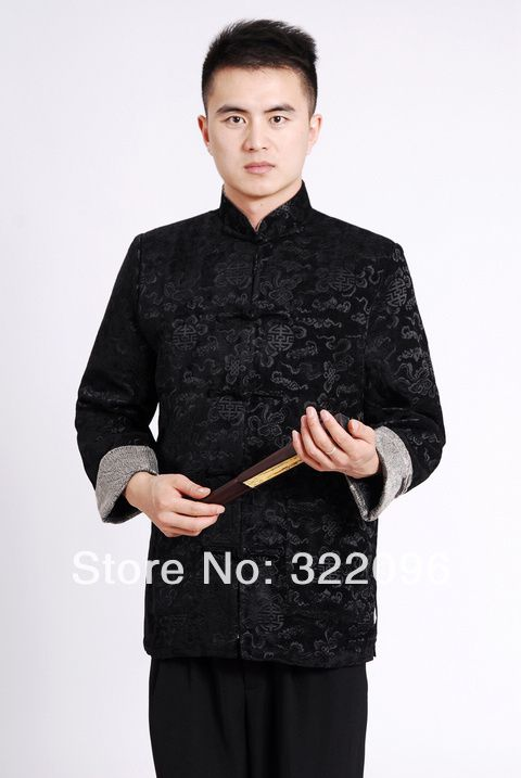 Shanghai Story  new Chinese traditional Jacket Black  tang suit clothes mandarin collar Velveteen fabric chinese marry jacket