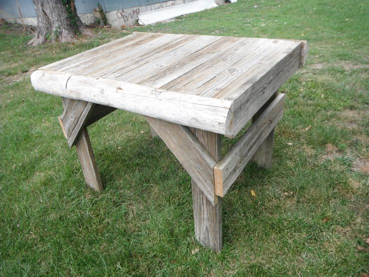 This outdoor table is made from repurposed lumber that was a dock on Mark Twain Lake