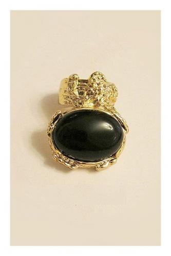 Golden Tone Oversized Gem Ring