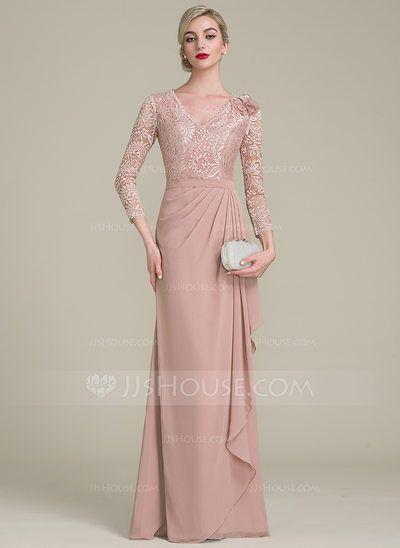 [US$ 126.99] A-Line/Princess V-neck Floor-Length Chiffon Lace Mother of the Bride Dress With Flower(s) Cascading Ruffles