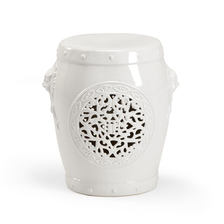 White Ceramic Garden Seat - LOW STOCK , ORDER NOW from The Well Appointed House