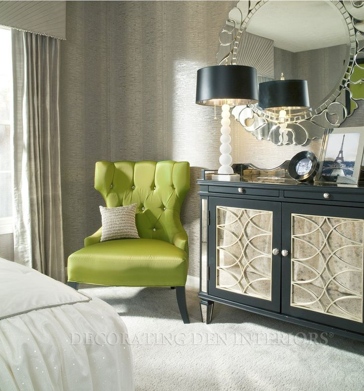 Bedroom, : Beautiful Green Bedroom Furniture For Bedroom Design Using  Tufted Lime Green Armchair Including Gold Black Drum Lamp Shade And Grey  Stripe Wall Part 36