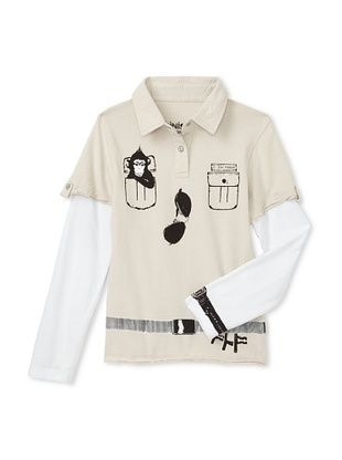 61% OFF Mini Shatsu Kid's Zoo Keeper Polo Shirt (Taupe)