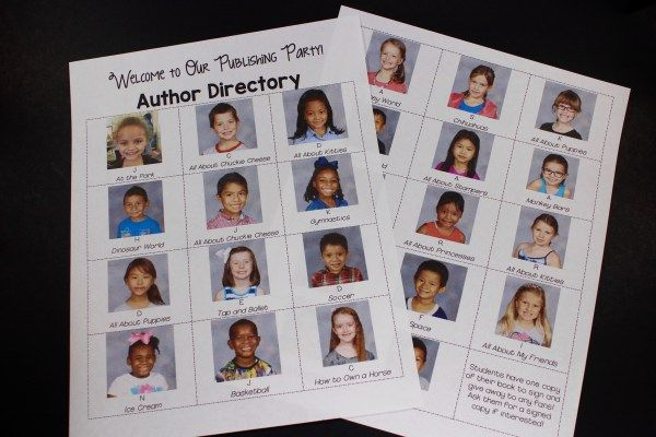 Author's Directory - Elementary Publishing Party - The Teaching Critic - Writers Workshop #firstgradewriting