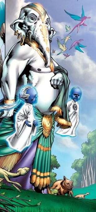 Induction ceremony for a new Blue Lantern with Guardian Ganthet and Sayd