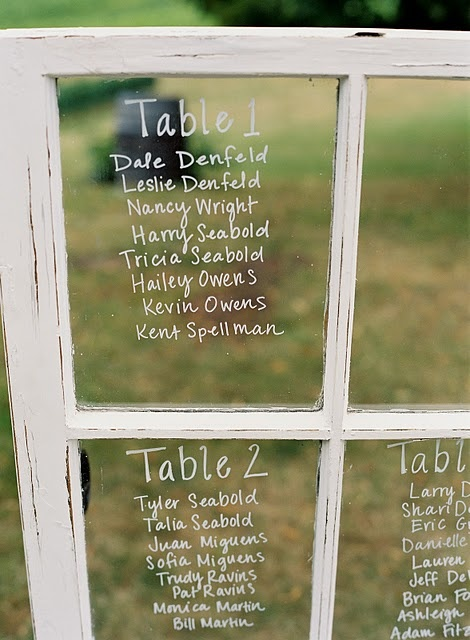 Love the idea of using an old window as wedding seating charts!