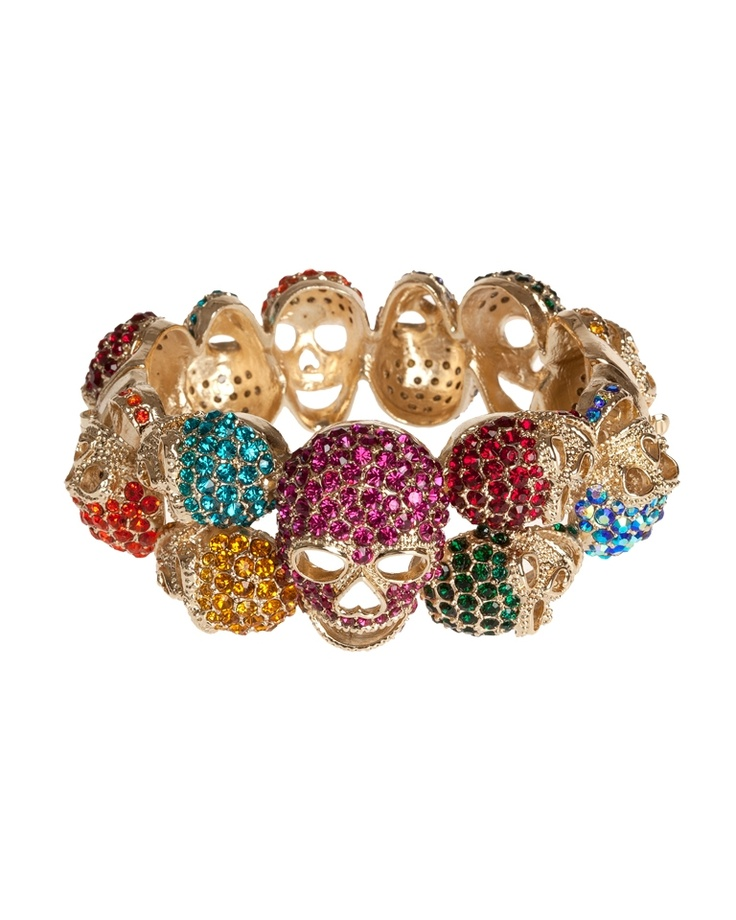 Nali Shop. Bracciale Rigido Teschi Multicolour Strass