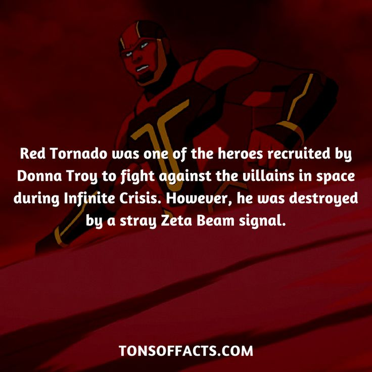 Red Tornado was one of the heroes recruited by Donna Troy to fight against the villains in space during Infinite Crisis. However, he was destroyed by a stray Zeta Beam signal. #redtornado #tvshow #justiceleague #comics #dccomics #interesting #fact #facts #trivia #superheroes #memes #1 #movies