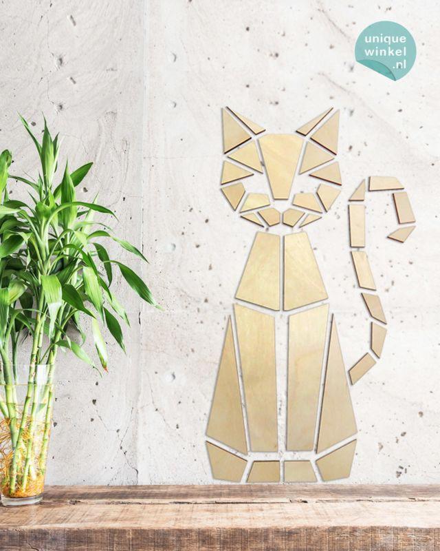 houten muursticker • Origami kat | houten decoratiestickers | Uniquewinkel