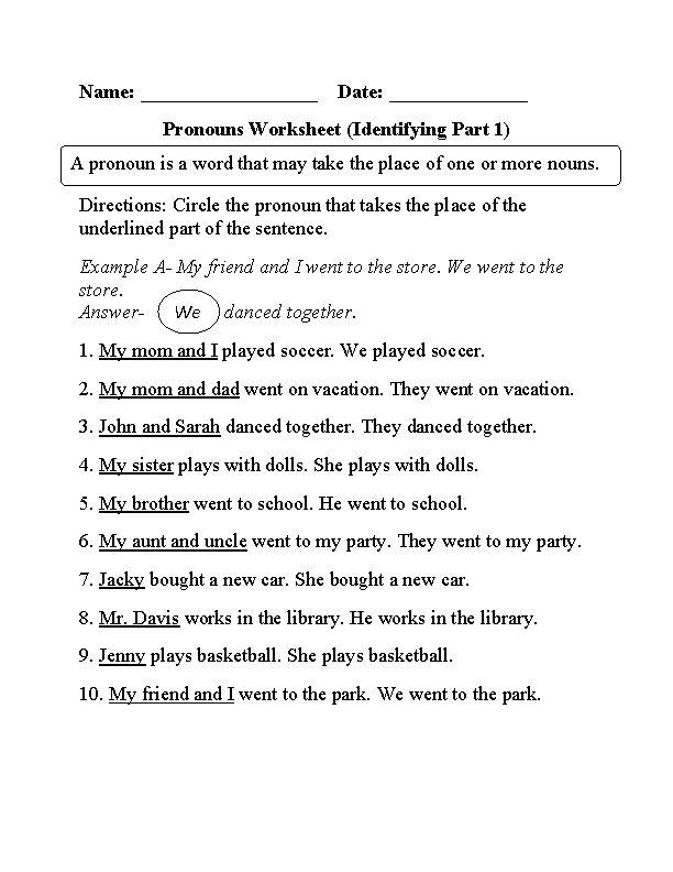 19 best Pronouns Worksheets images on Pinterest | Pronoun ...